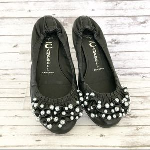 Jeffrey Campbell Leather Pearl Ruffle Flats 6.5